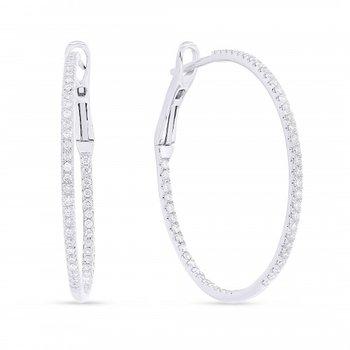 30mm Diamond Inside/Outside Hoop Earrings - White Gold
