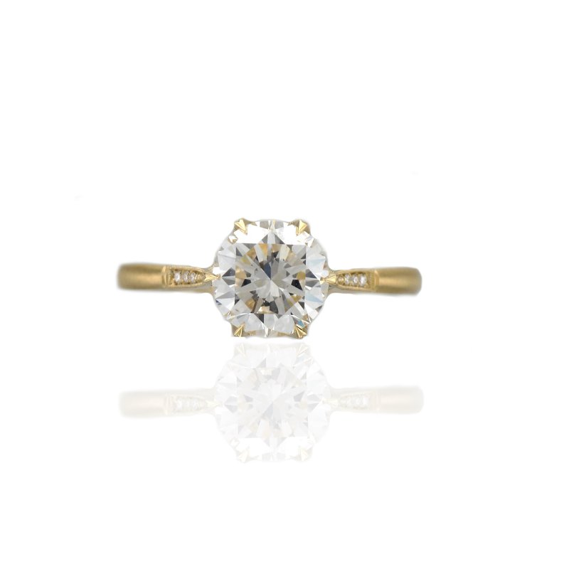 Erika Winters Grace Six Prong Cathedral Diamond Solitaire Ring