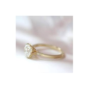 Grace Six Prong Cathedral Diamond Solitaire Ring