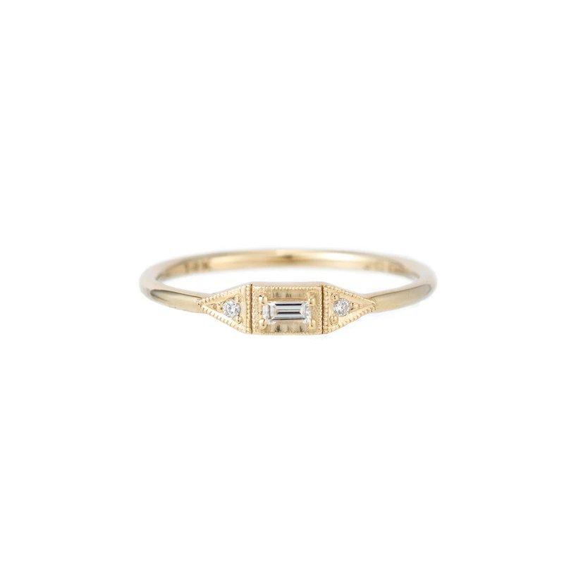 Jennie Kwon Diamond Baguette Mini Deco Point Ring