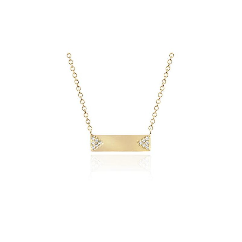 EF Collection Diamond Double Triangle Mini Nameplate Necklace