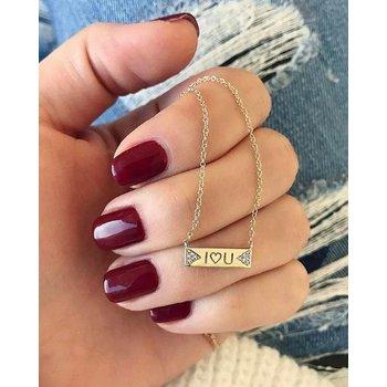 Diamond Double Triangle Mini Nameplate Necklace