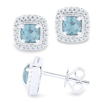 Aqua & Diamond Halo Cushion Earrings