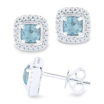 Aqua & Diamond Halo Cushion Earrings
