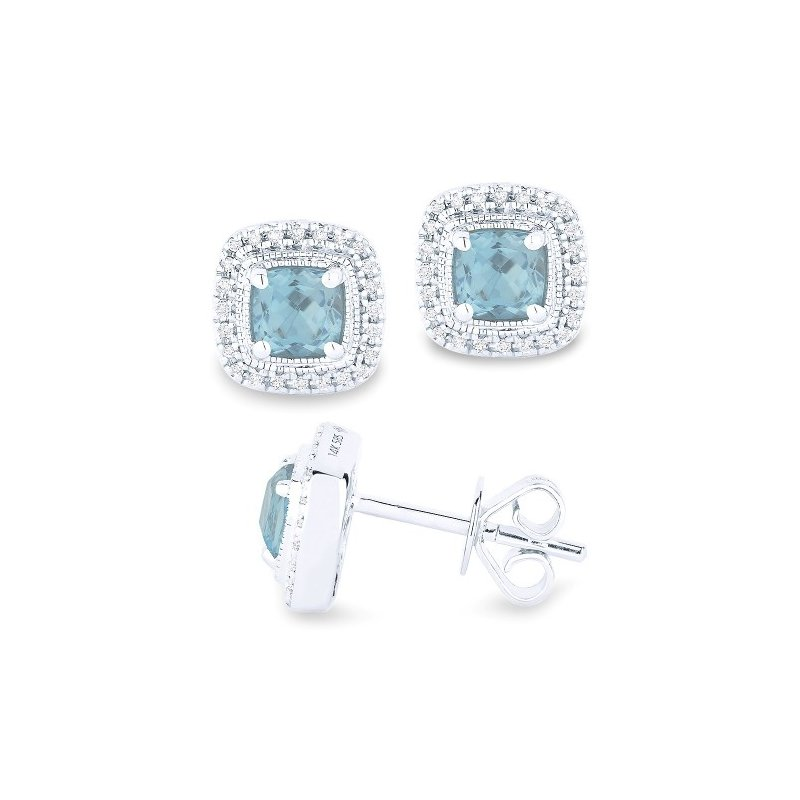 Madison L Aqua & Diamond Halo Cushion Earrings