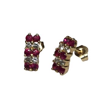 Ruby & Diamond Half Hoop Earrings