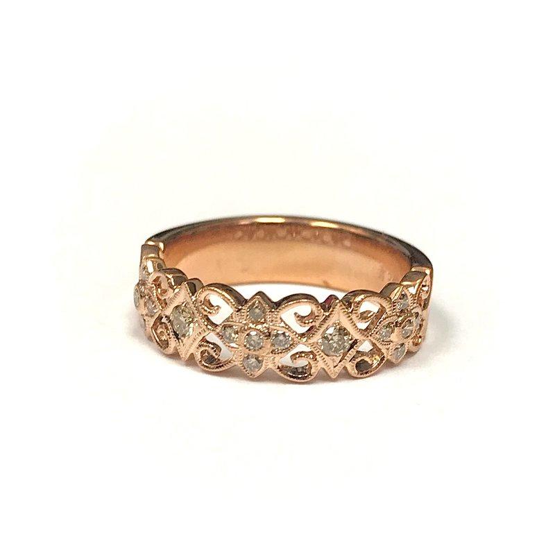 Beverley K Wide Floral Cognac Diamond Ring