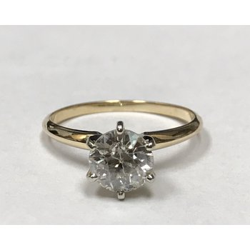 European Cut Diamond Solitaire Ring