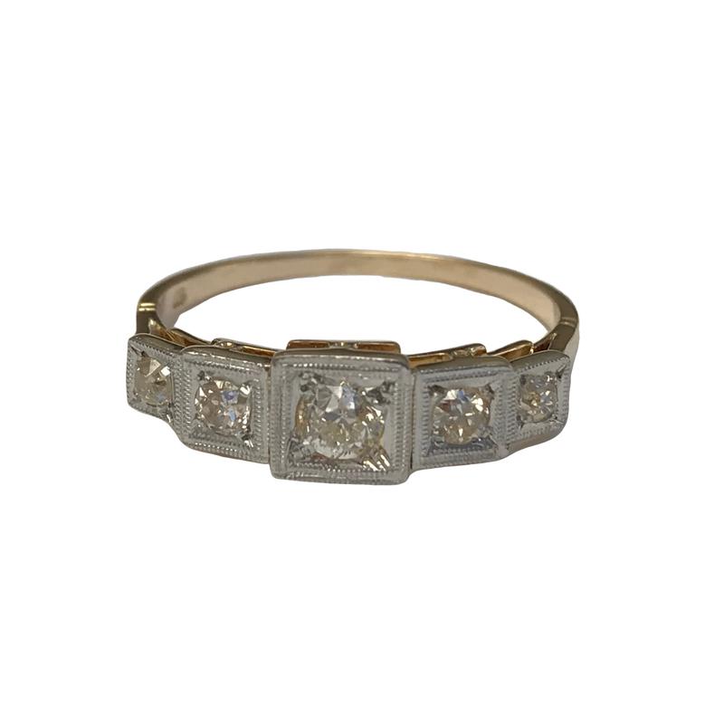 Antique, Estate & Consignment 5 Stone European Cut Diamond Ring