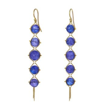 Graduated Textile Tanzanite Earrings
