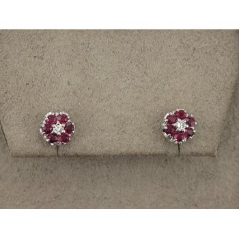 Ruby & Diamond Cluster Stud Earrings