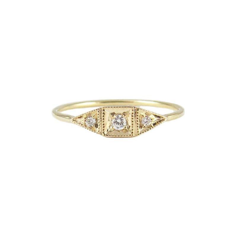 Jennie Kwon Diamond Mini Deco Point Ring