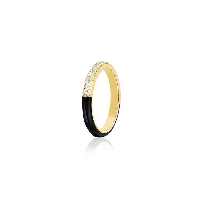 EF Collection Two Tone Diamond & Black Enamel Band Ring