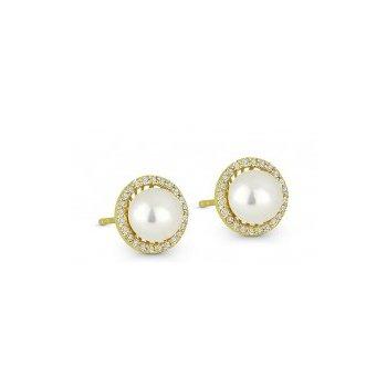 Pearl & Diamond Halo Stud Earrings