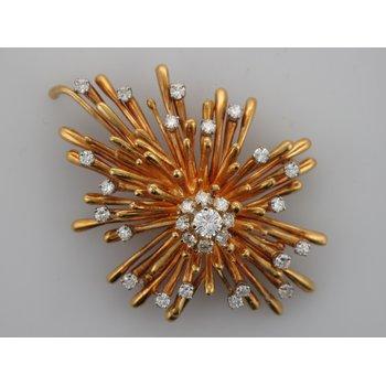 Diamond Yellow Gold Burst Brooch
