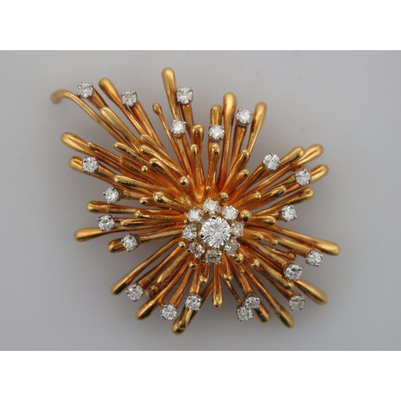 Antique, Estate & Consignment Diamond Yellow Gold Burst Brooch