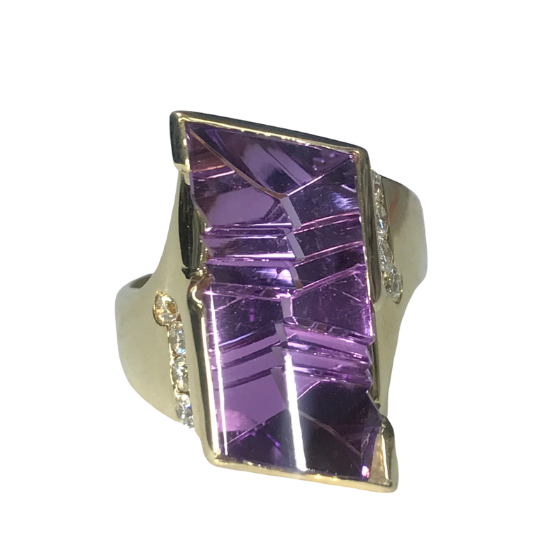 Antique, Estate & Consignment Fantasy Cut Amethyst & Diamond Ring