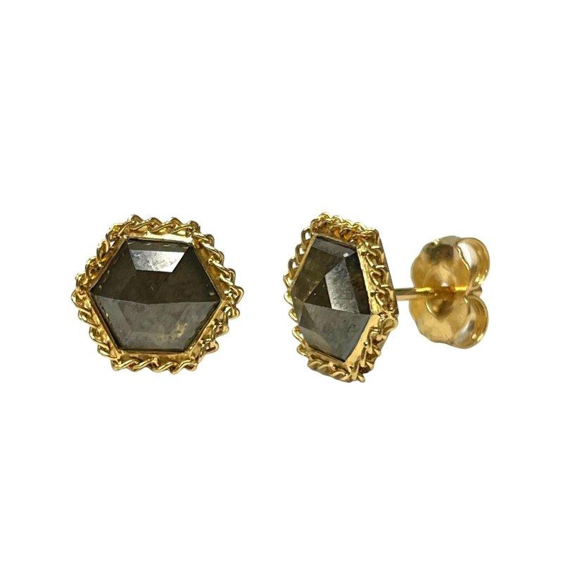 Amali Hexagon Diamond Stud Earrings