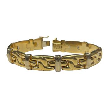 14k Two Tone Wide Bracelet