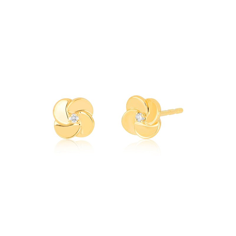 EF Collection Gold And Diamond Petal Stud Earring