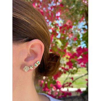Gold And Diamond Petal Stud Earring