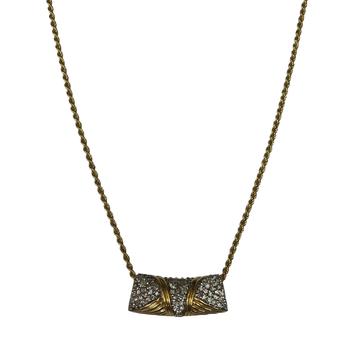 Diamond Gold Tube Necklace