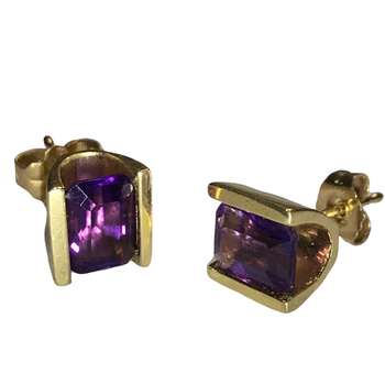 Half Bezel Set Amethyst Stud Earrings