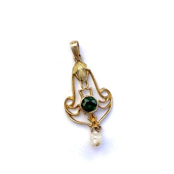 Emerald & Pearl Lavalier Pendant