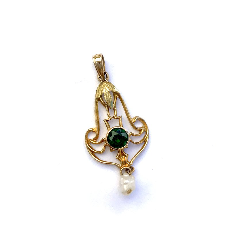Antique, Estate & Consignment Emerald & Pearl Lavalier Pendant