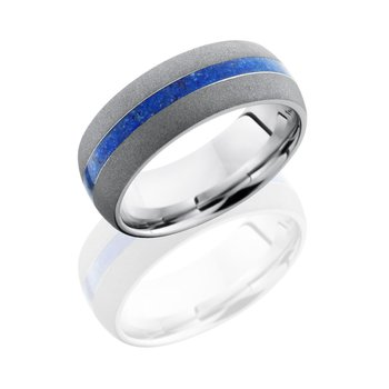 Cobalt Chrome & Lapis Inlay Band
