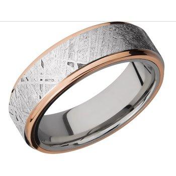 Cobalt Chrome, 14k Rose Gold and Meteorite Band