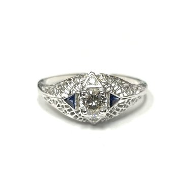 Diamond & Synthetic Sapphire Filigree Ring