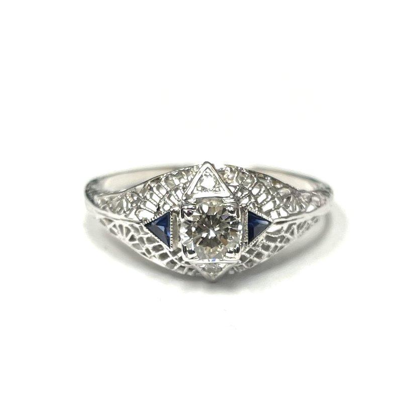 Antique, Estate & Consignment Diamond & Synthetic Sapphire Filigree Ring
