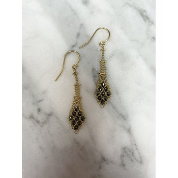 Black Diamond Textile Earrings