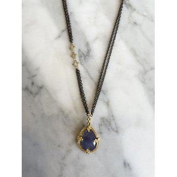 Tanzanite & Silver Diamond Necklace