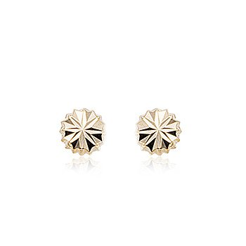 14k Fancy Button Stud Earrings
