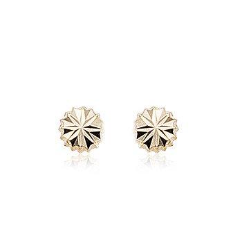 14k Fancy Button Stud Earrings