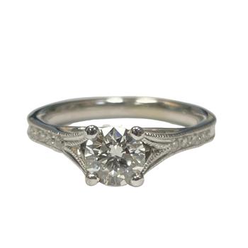 Milgrain Diamond Engagement Ring