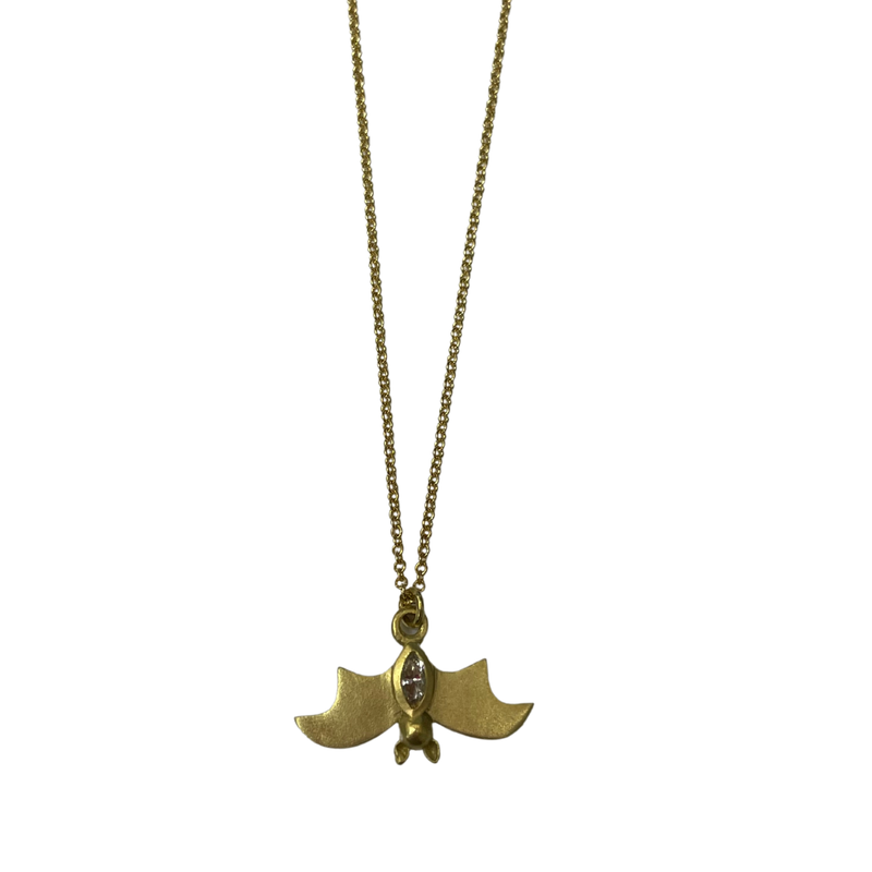 Antique, Estate & Consignment 18k Diamond Bat Necklace