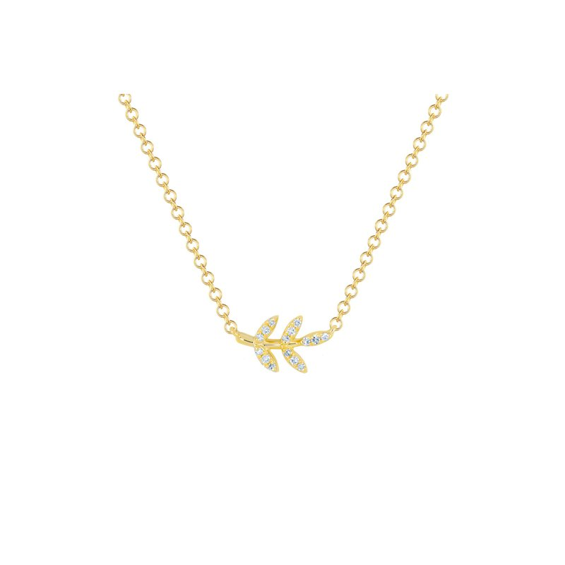 EF Collection Diamond Leaf Necklace