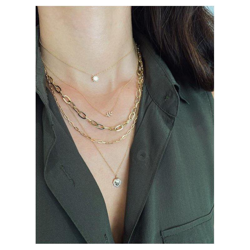 EF Collection Diamond Leaf Necklace