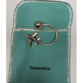 Tiffany & Co. Stamped Airplane & Globe Key Ring