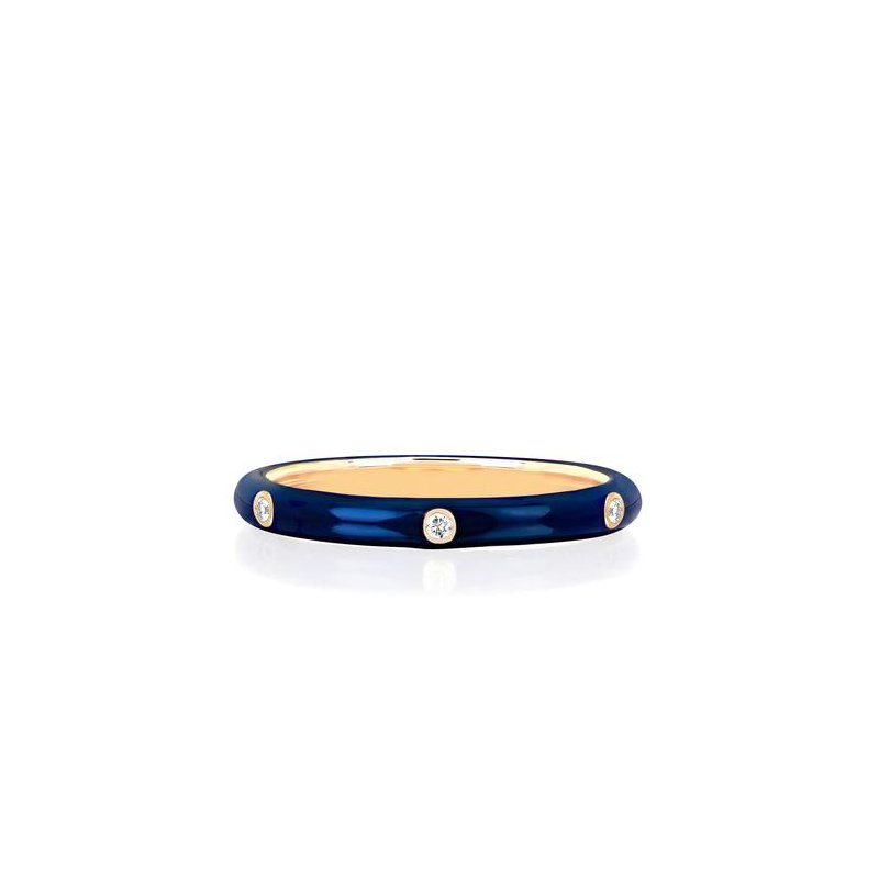 EF Collection 3 Diamond Navy Enamel Stack Ring