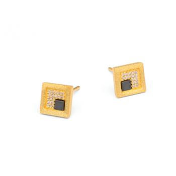 Cubena Hematine & CZ Stud Earrings