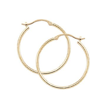 14k Hoop Earrings 1.5 x 25mm