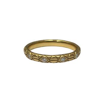 18k Yellow Gold and Diamond Geometric Ring