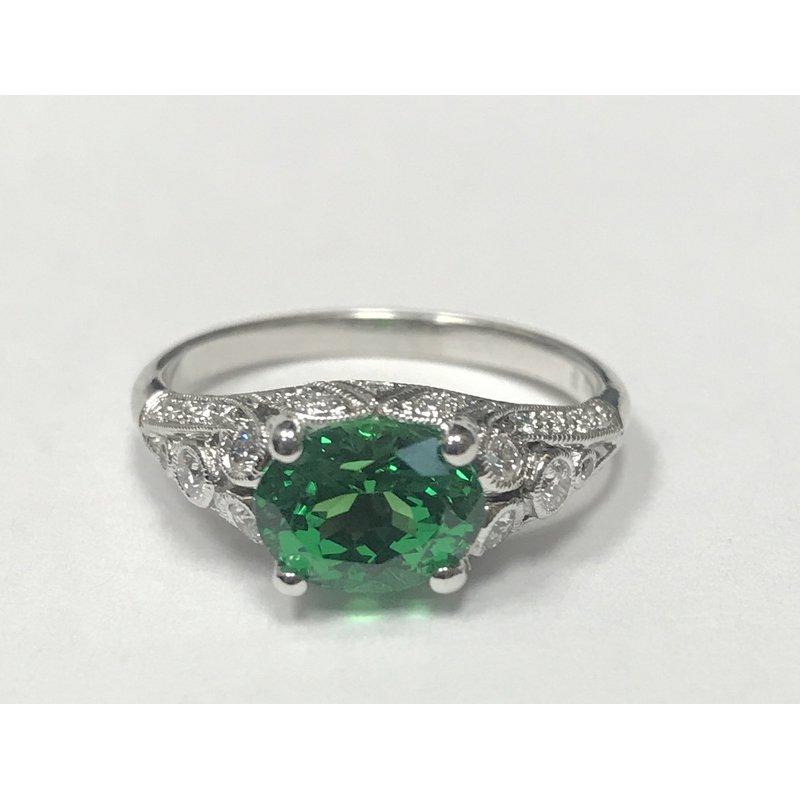 Beverley K Vintage Inspired Tsavorite Garnet & Diamond Ring