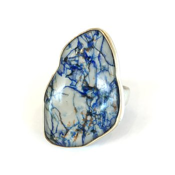 Rock Crystal over Azurite Ring