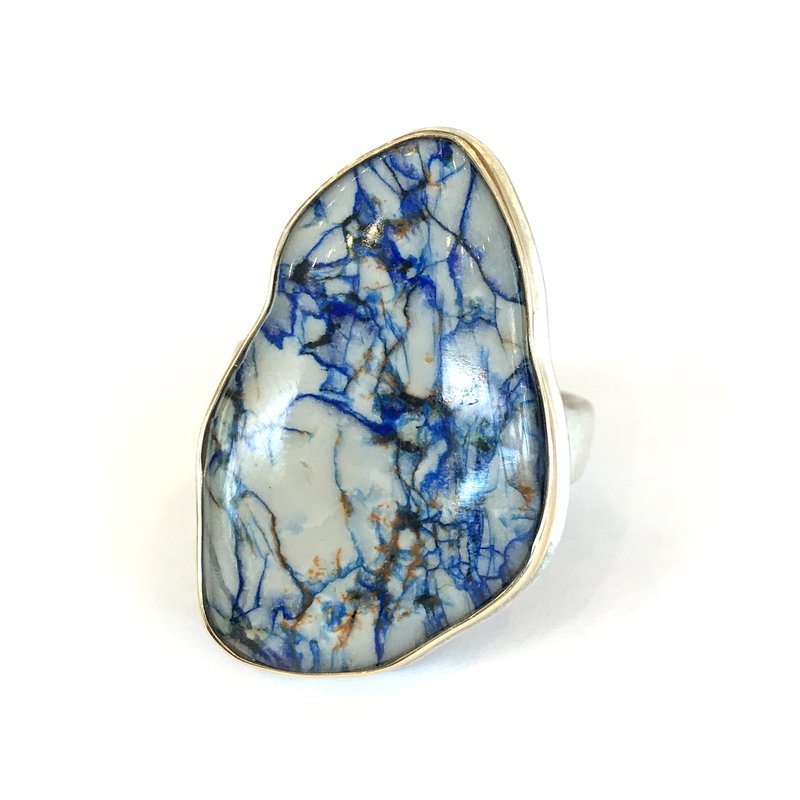 Jamie Joseph Rock Crystal over Azurite Ring