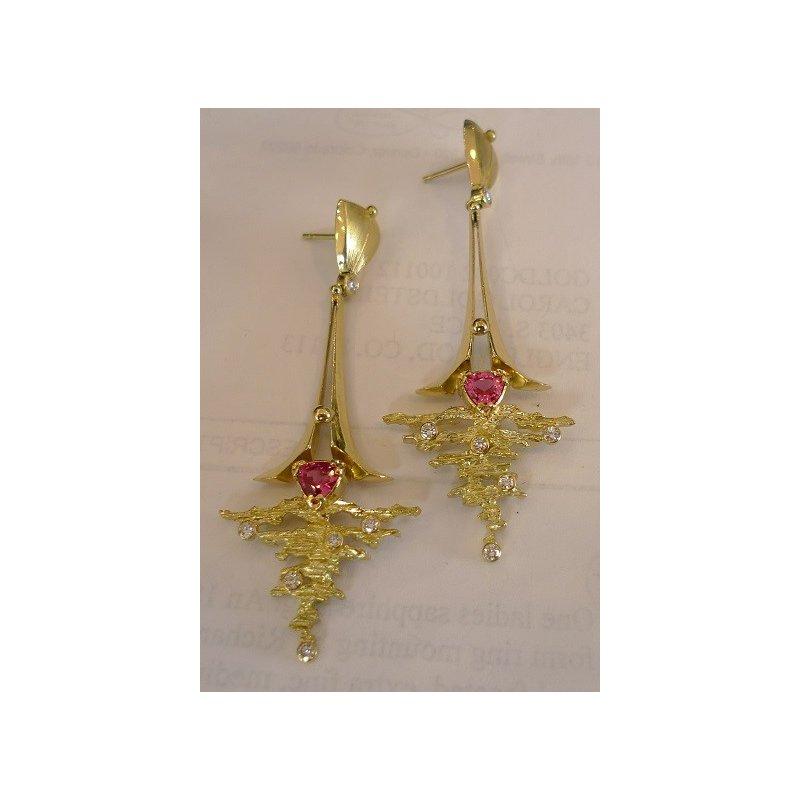 Richard Kimball 18k Red Spinel Earrings